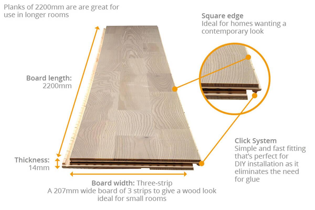 Barlinek Decor Engineered European Nature Ash Flooring Platinum Molti Lacquered