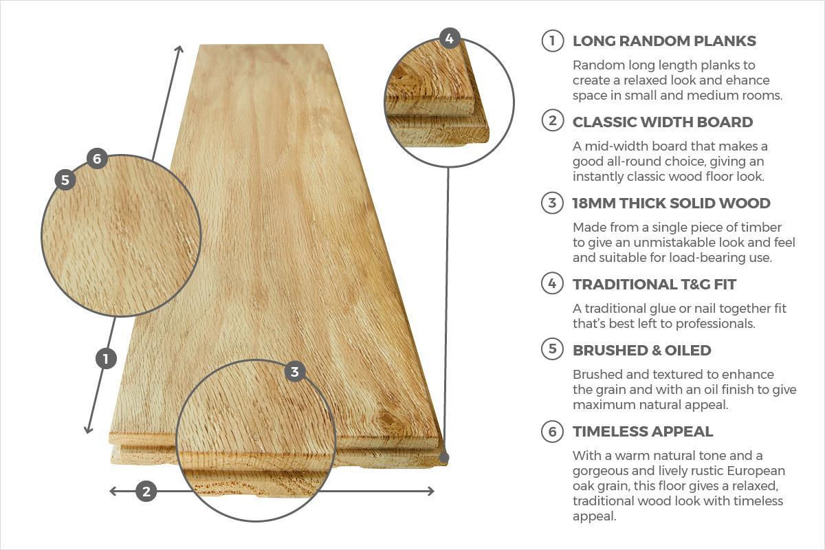 Solid Rustic Oak Flooring 18mm X 150mm Brushed Oiled
