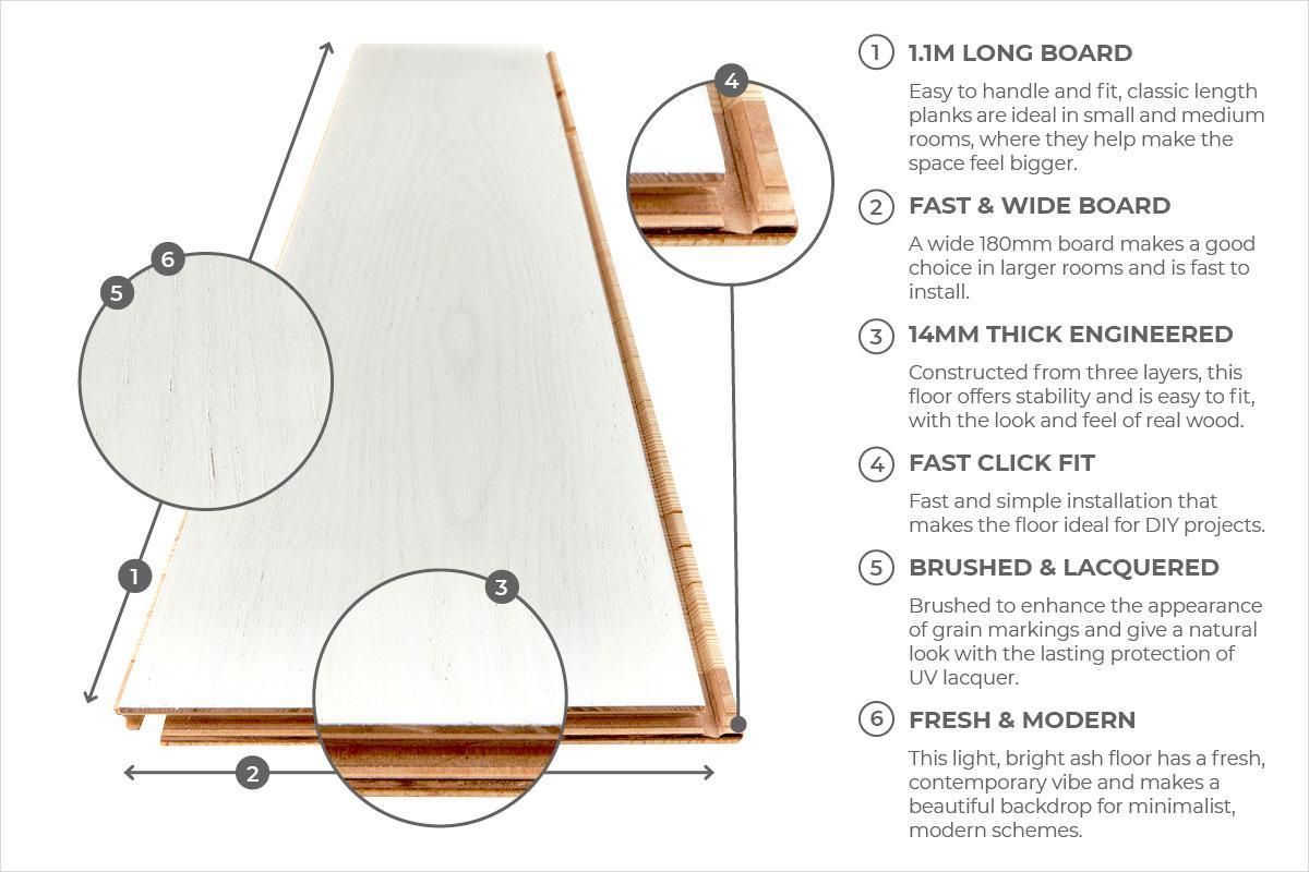 Home Choice Engineered European Nature Ash Flooring 180mm Lemon Sorbet Grande Lacquered