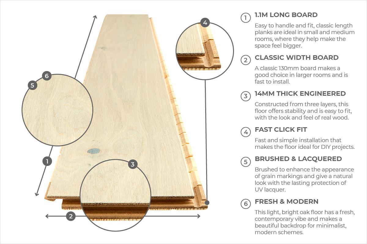 Home Choice Engineered European Oak Flooring Cappuccino Lacquered