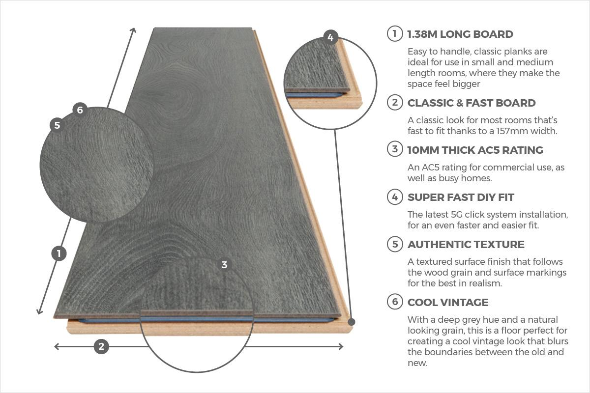 Series Woods Professional 10mm Laminate Flooring Oak Grey