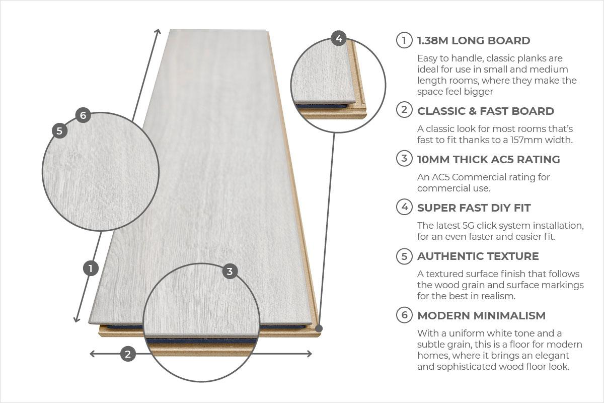 Series Woods Professional 10mm Laminate Flooring White Oak