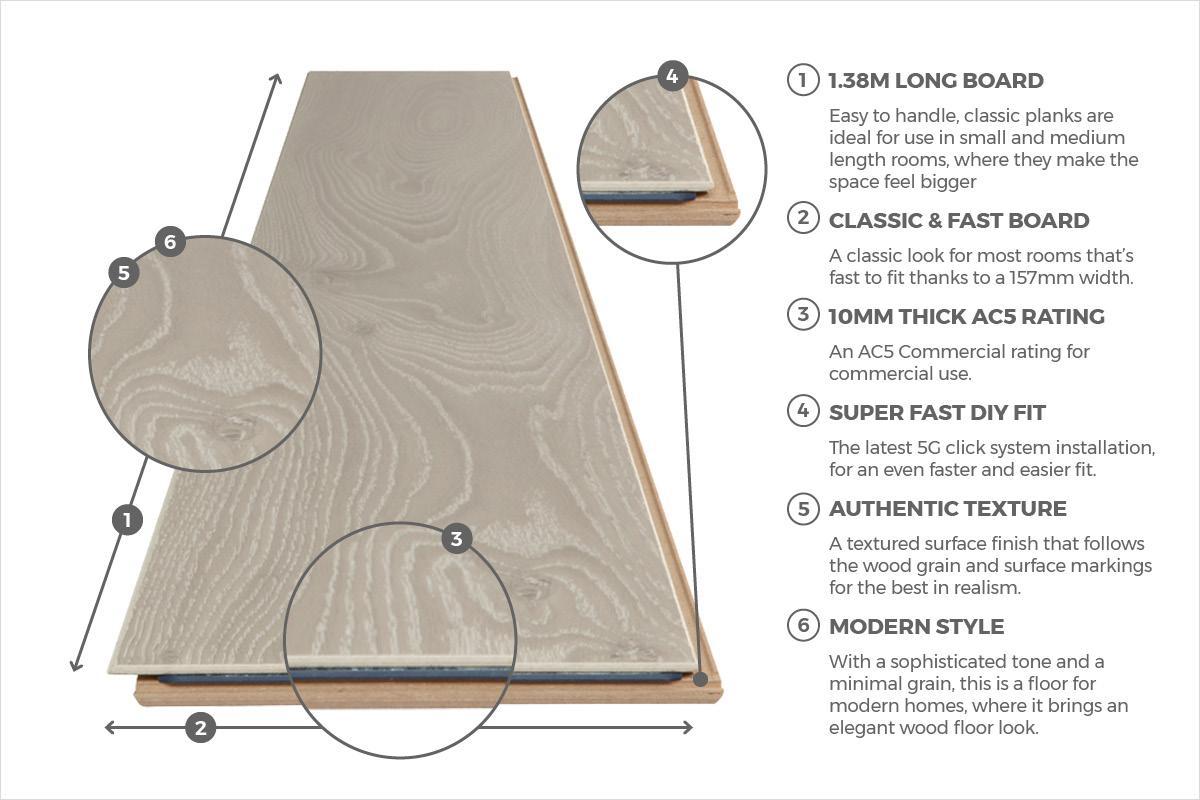 Series Woods Professional 10mm Laminate Flooring Oak Beige