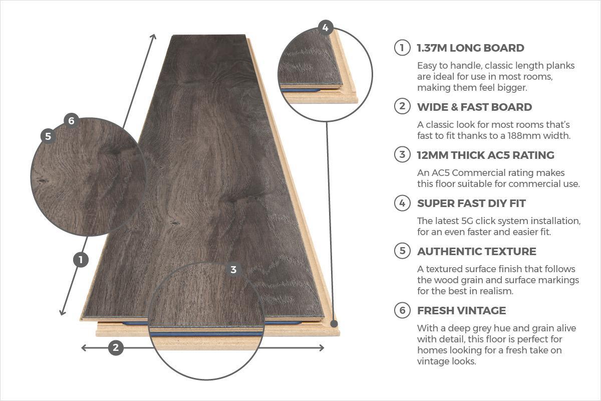 Series Woods Professional 12mm Laminate Flooring Dark Oak
