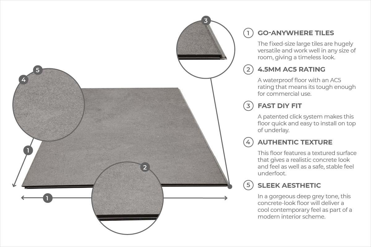 Spectra Dark Grey Cement Tile Luxury Click Vinyl Flooring