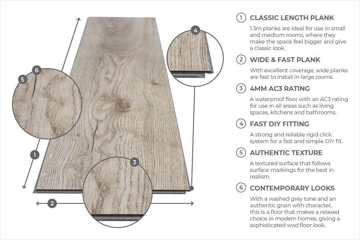 Spectra Oregon Grey Oak Plank Luxury Click Vinyl Flooring