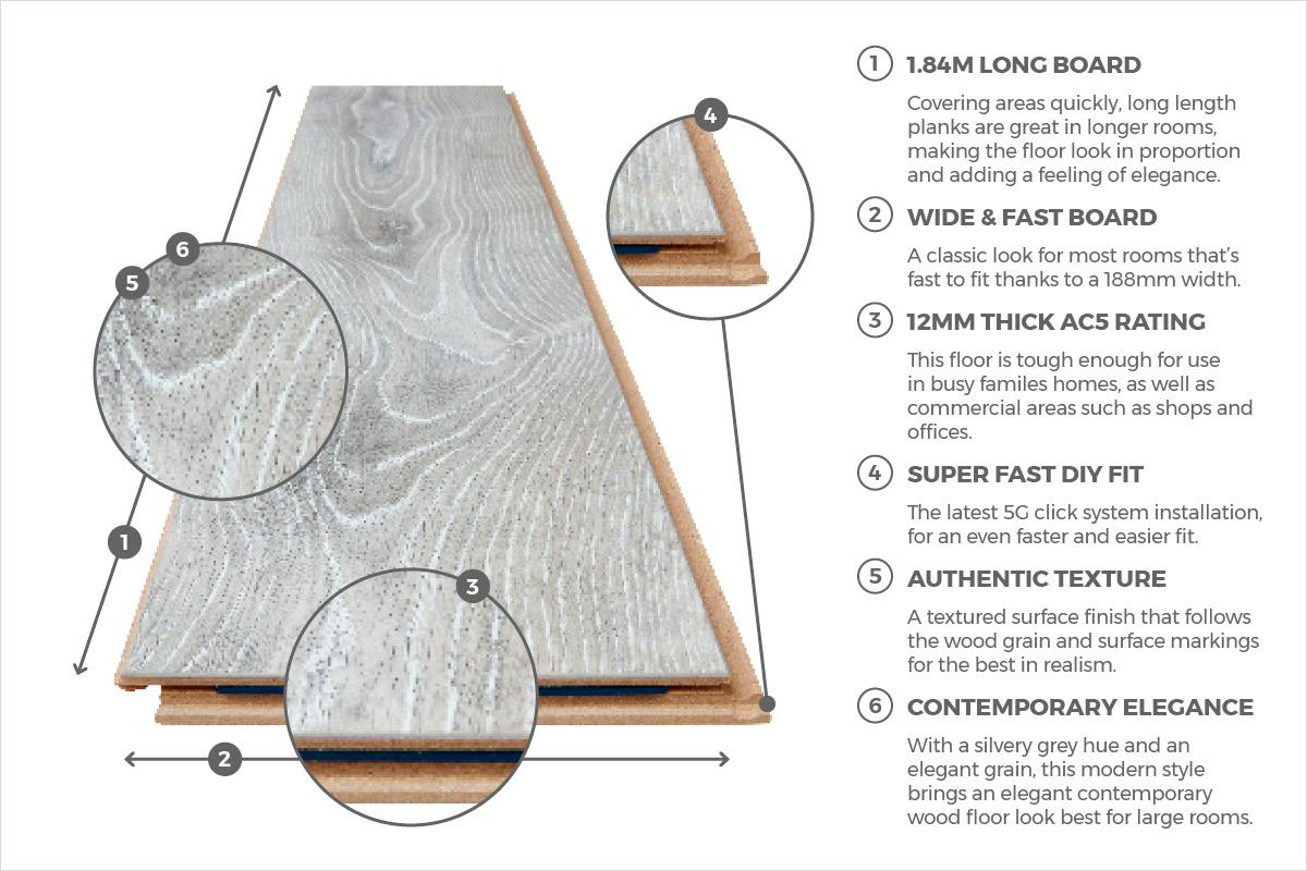 Vantage 12mm Laminate Flooring Highland Silver Oak