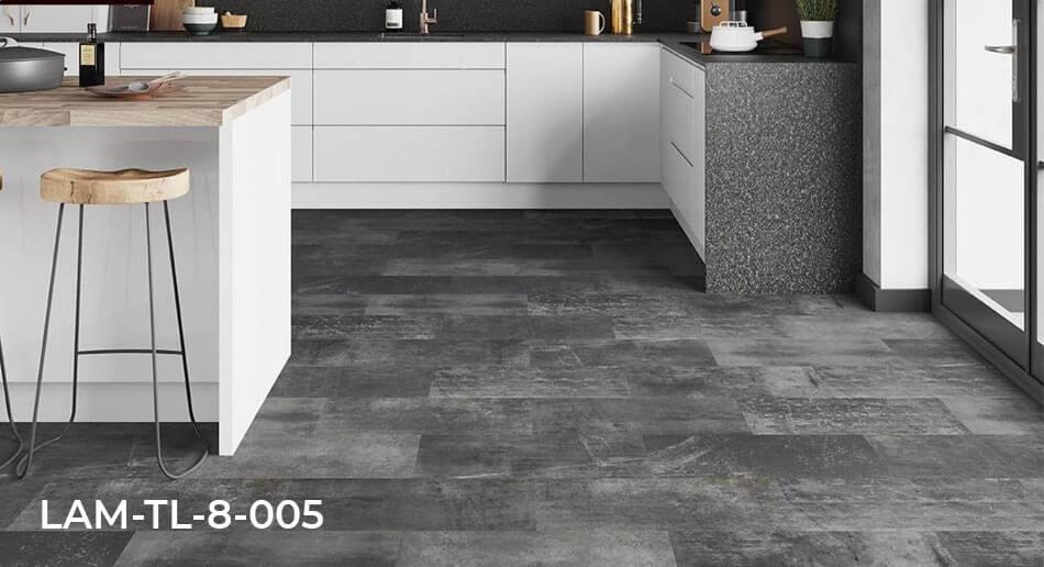 City Laminate Deco Graphite Laminate Tile Flooring kitchen roomset