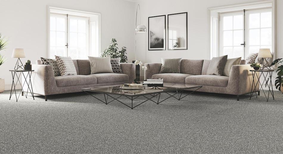 Spacious living room set with grey carpet