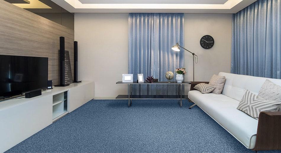 Living room set with blue carpet