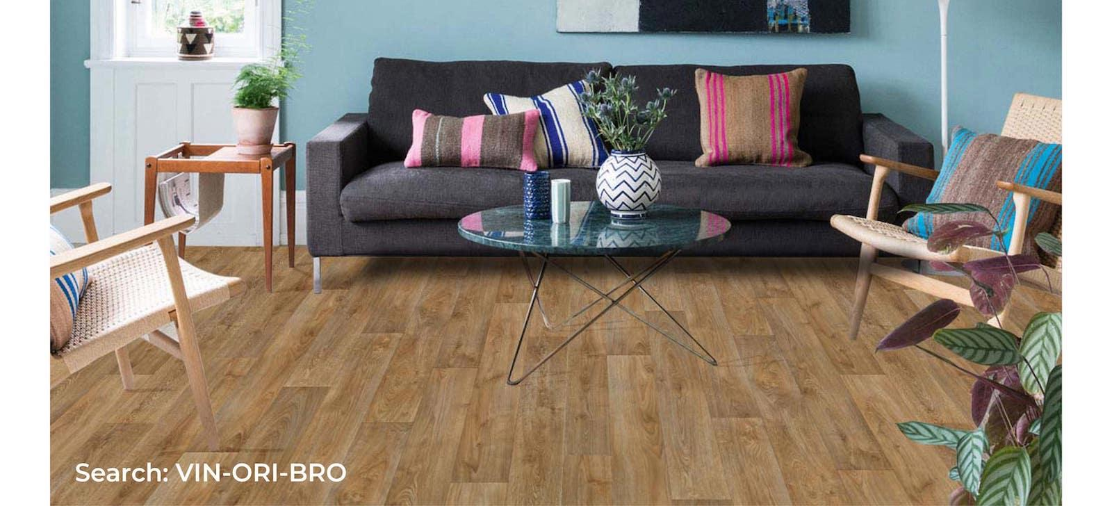 Colourful living room set with natural vinyl