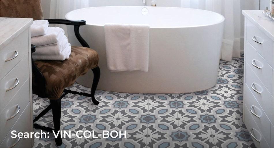 Patterned bathroom set with boho tile