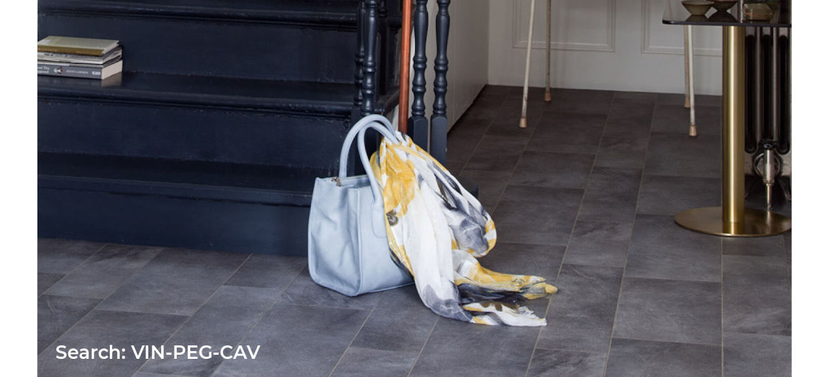 Entranceway and stairs with Pegasus Cavalry dark tile effect sheet vinyl flooring