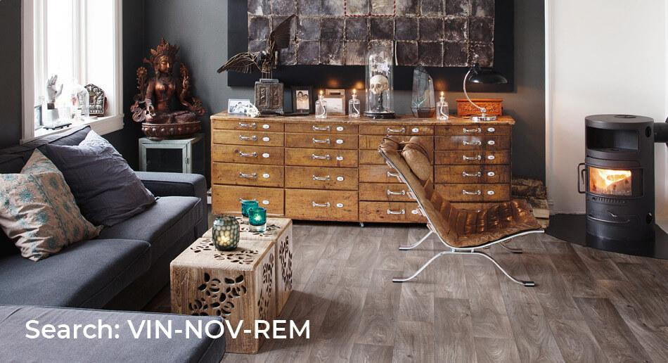 Rustic living room with Nova Remnant wood effect sheet vinyl floor