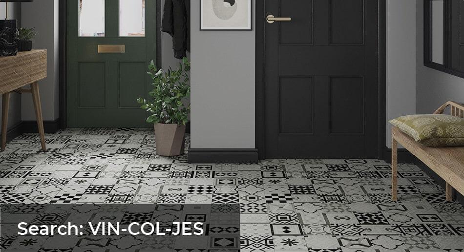 Entrance way with Columba Jester tile effect patterned sheet vinyl flooring