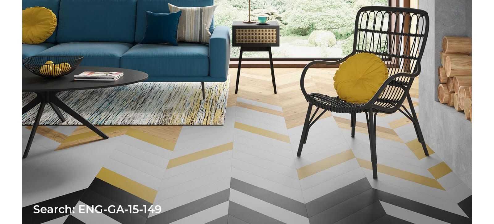 Living room with decorative painted chevron real wood floor