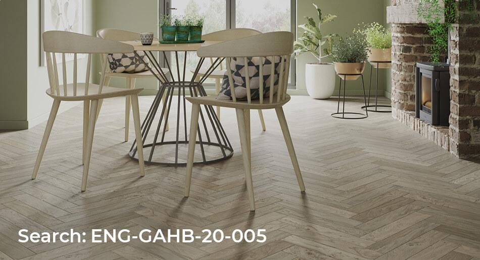 Galleria Professional Engineered Rustic Oak Herringbone Flooring Beige Lacquered dining room