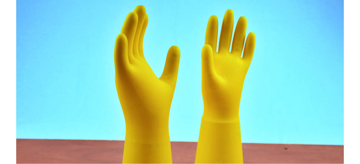 washing up gloves on table