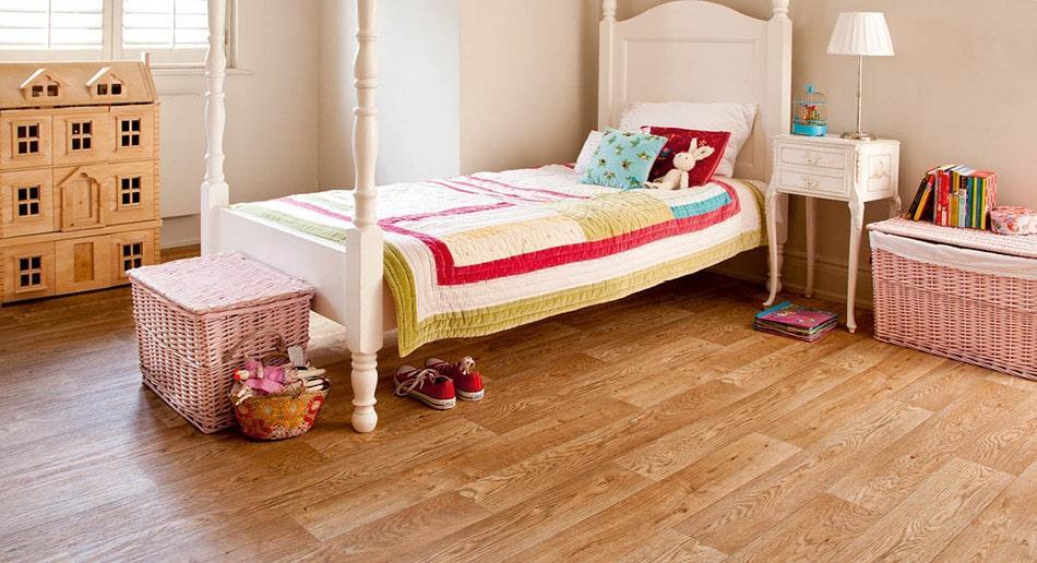 Grey wood effect sheet vinyl flooring living room roomset