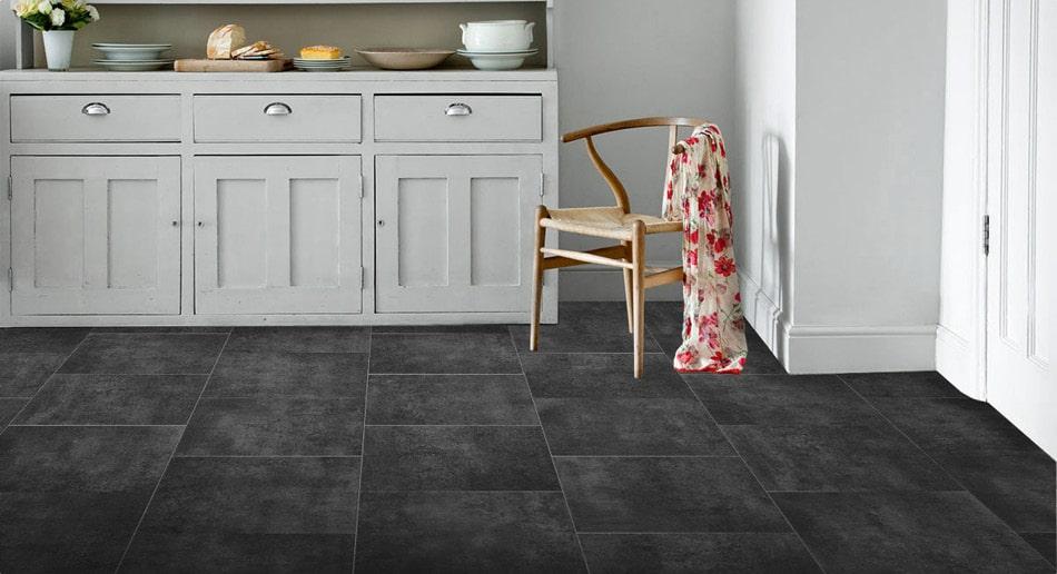 Dark, large tile effect sheet vinyl flooring roomset
