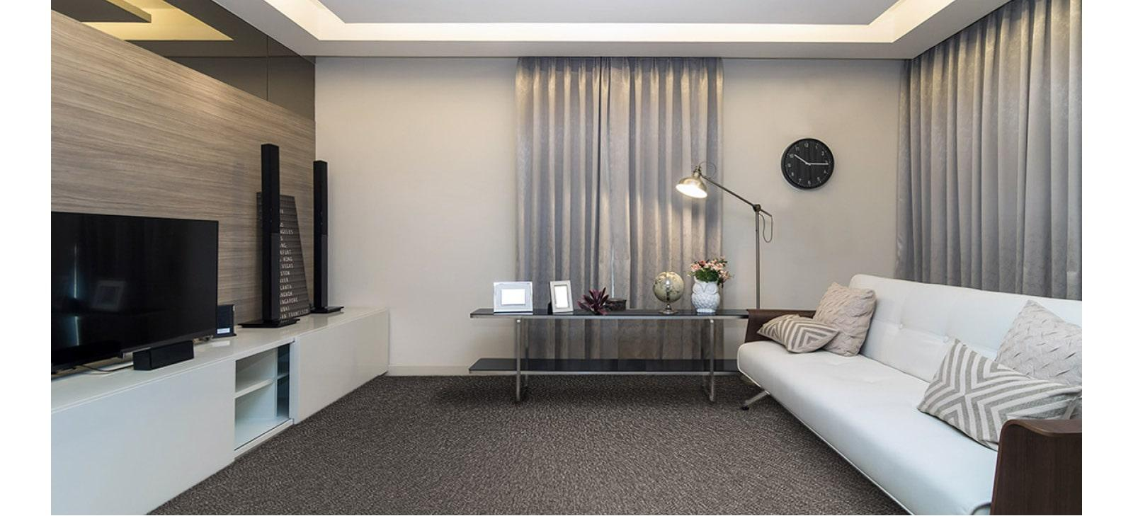 Modern Lounge Roomset with Dark Carpet