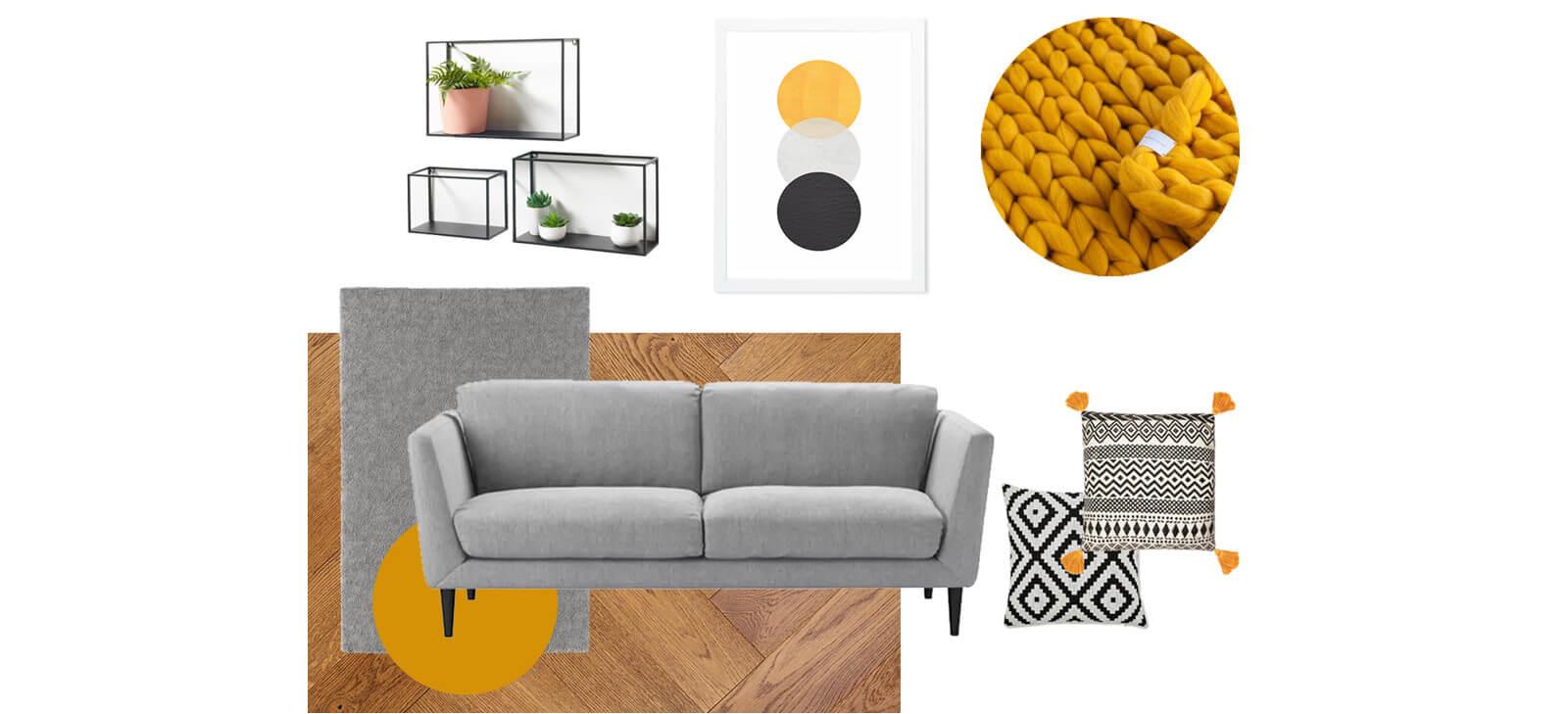 Grey and yellow mood board