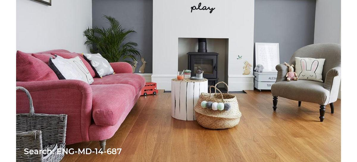 Neutral looking living room with wood effect laminate flooring