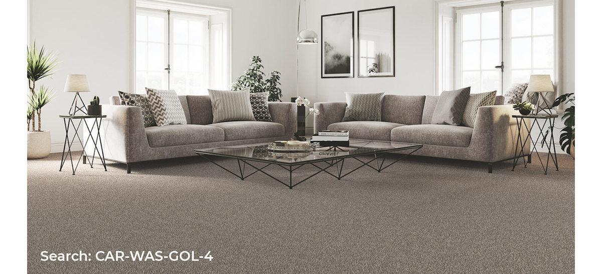 Large, open living room with grey furnishings and Home Choice Washington Goldfinch carpet installed
