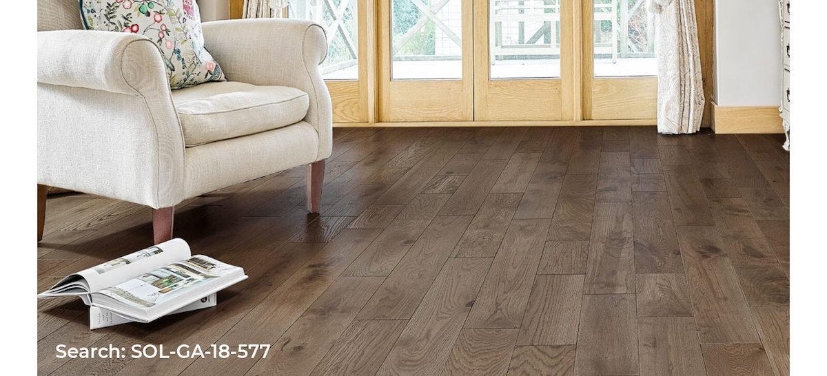 Darker, solid wood Galleria floor, living room roomset