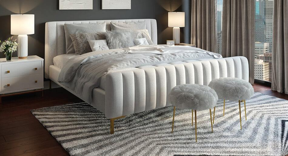 Modern, neutral coloured bedroom with grey carpet