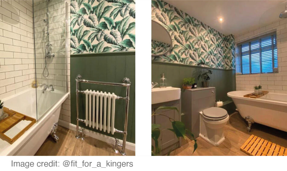 Modern bathroom redesign with traditional looking furniture and wood effect flooring – image credit @fit_for_a_kingers