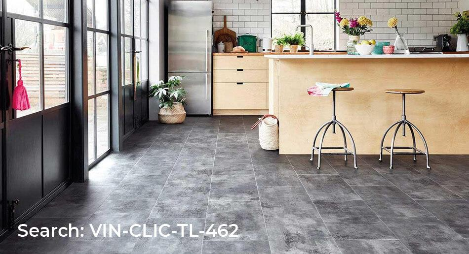Spectra Silver Metallic Tile Luxury Click Vinyl Kitchen roomset with skandi style decoration