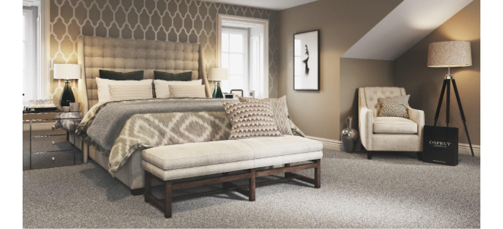 Grey carpet, neutral coloured bedroom