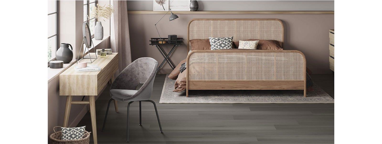 rattan bedroom with desK
