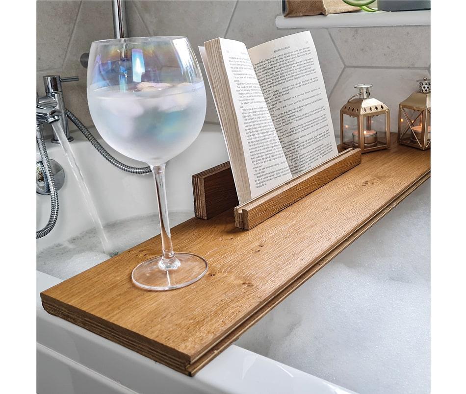 wooden shelf over bath