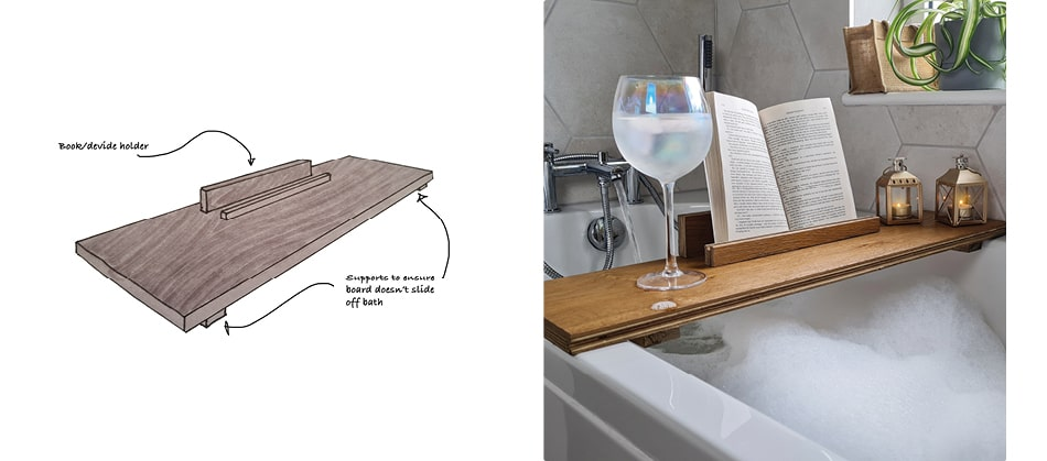 wooden shelf over bath with drink and book