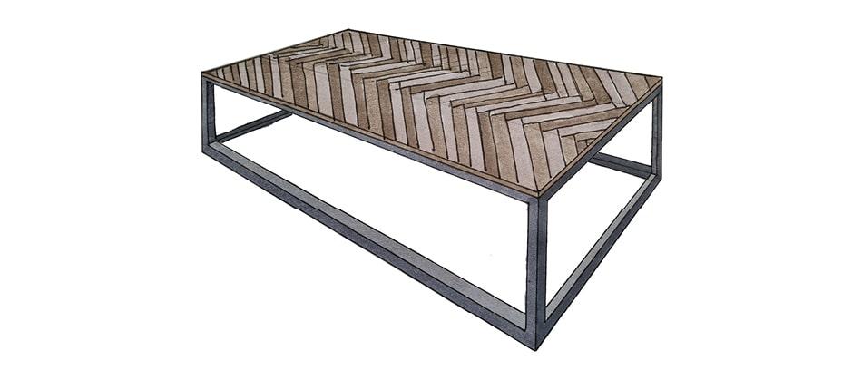 coffee table with herringbone top