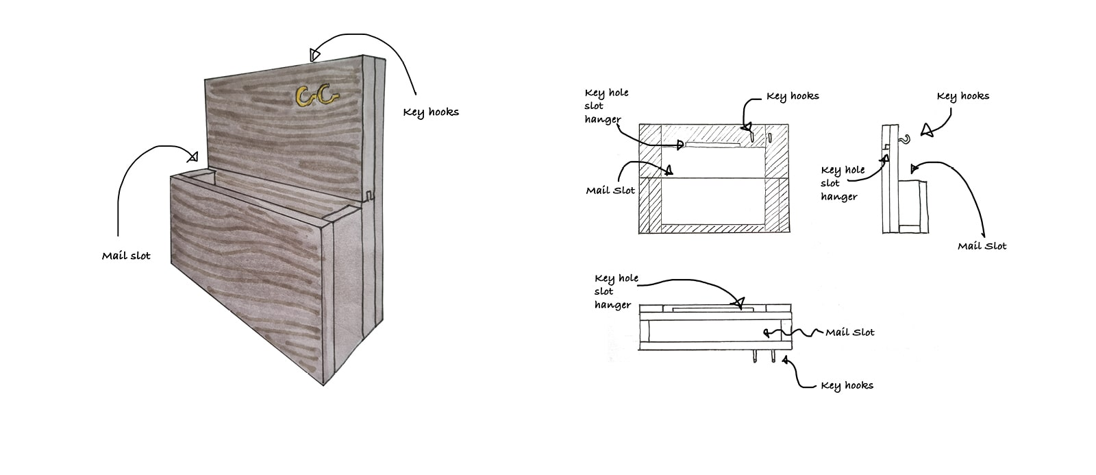 letter caddy construction diagram