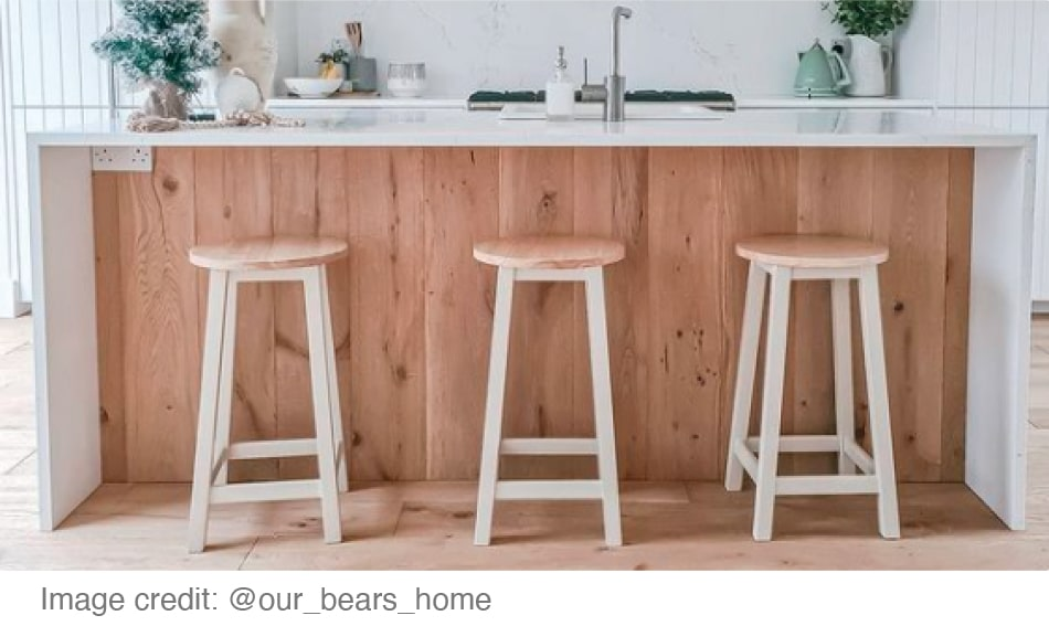 white kitchen bar with wooden underside