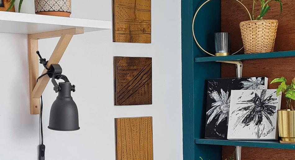 wall mounted wooden art in bedroom