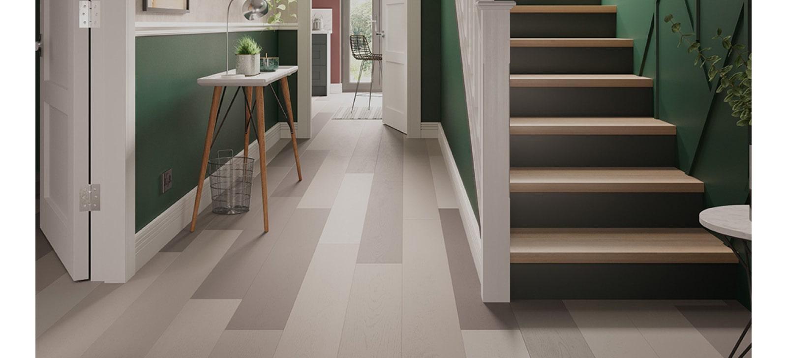 Shades of grey painted hallway flooring