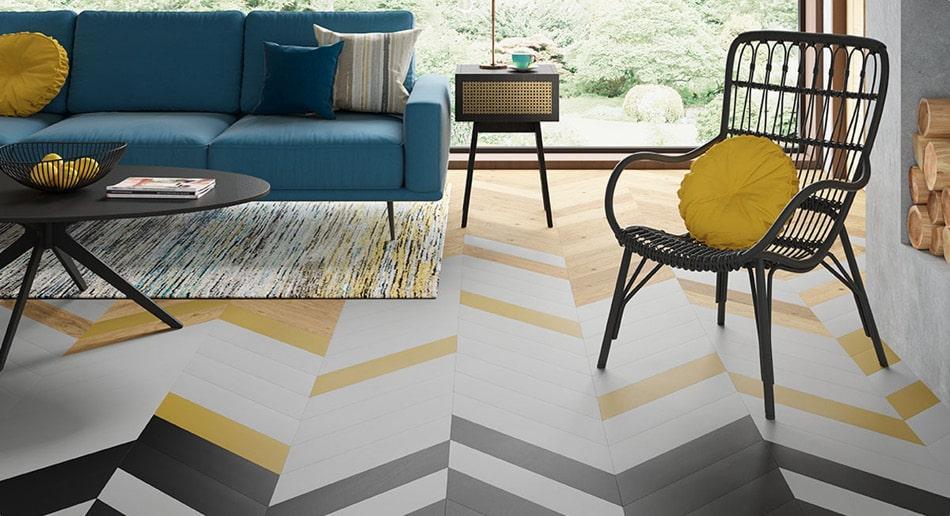 Black and yellow herringbone painted floor