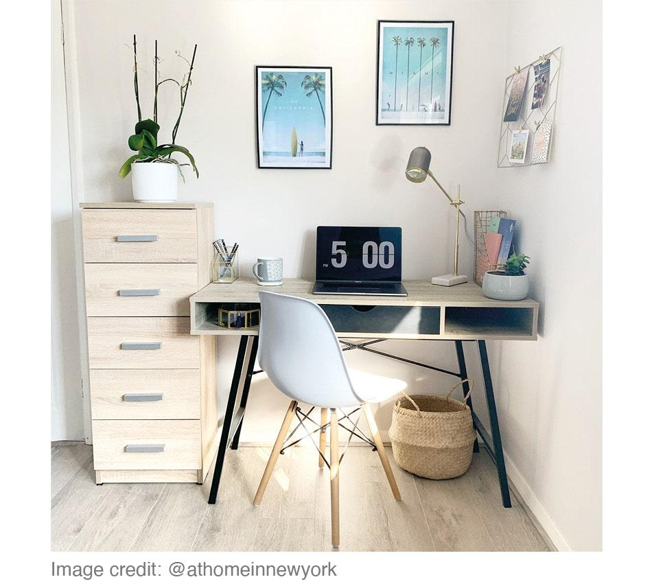 home office in lightly decorated room