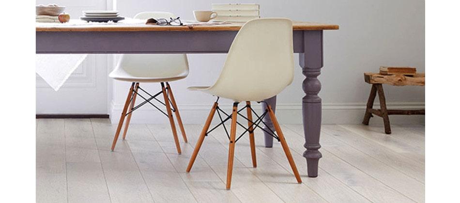 desk on white laminate flooring