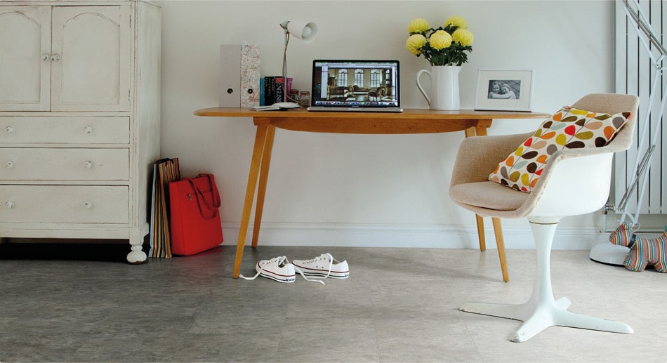 home office with stone-effect floor