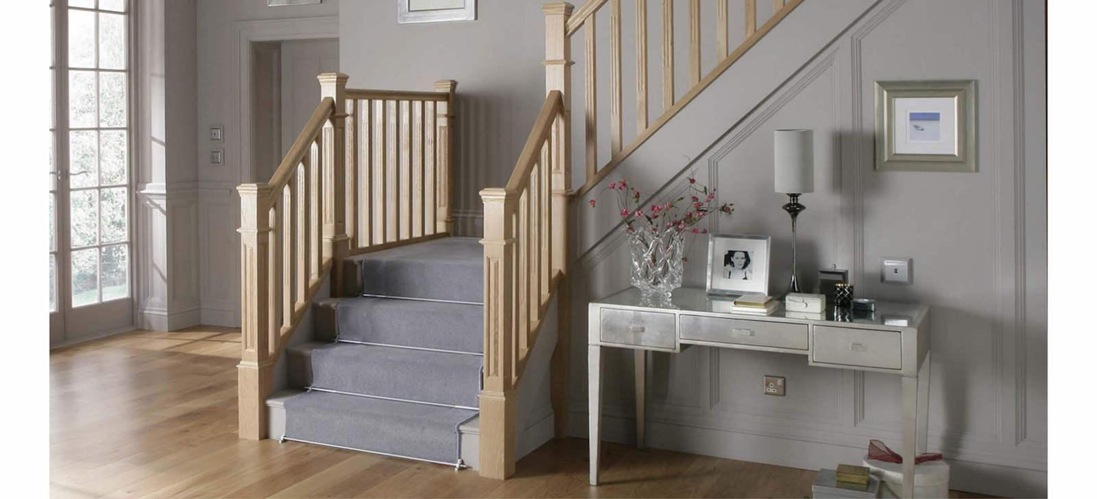 staircase with carpet