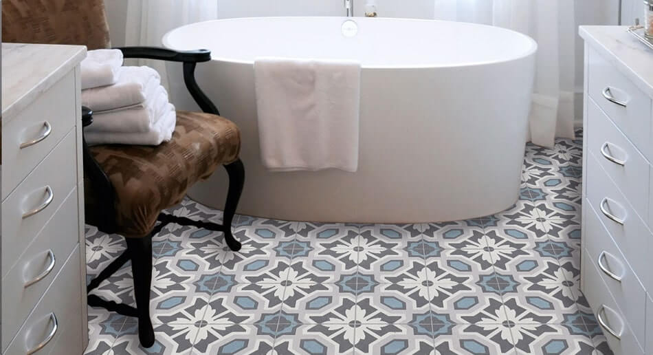 patterned sheet vinyl bathroom