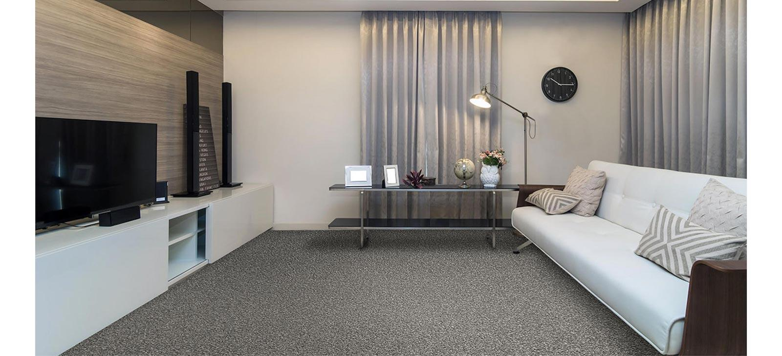 Cosy lounge room set with grey carpet
