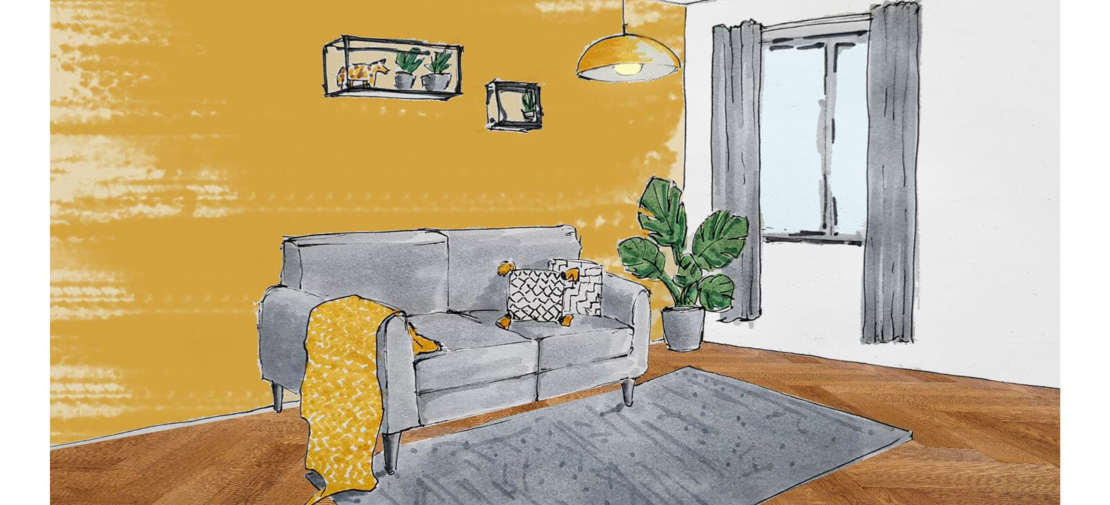 Grey and yellow lounge sketch