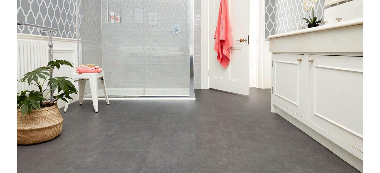 grey glue down vinyl bathroom